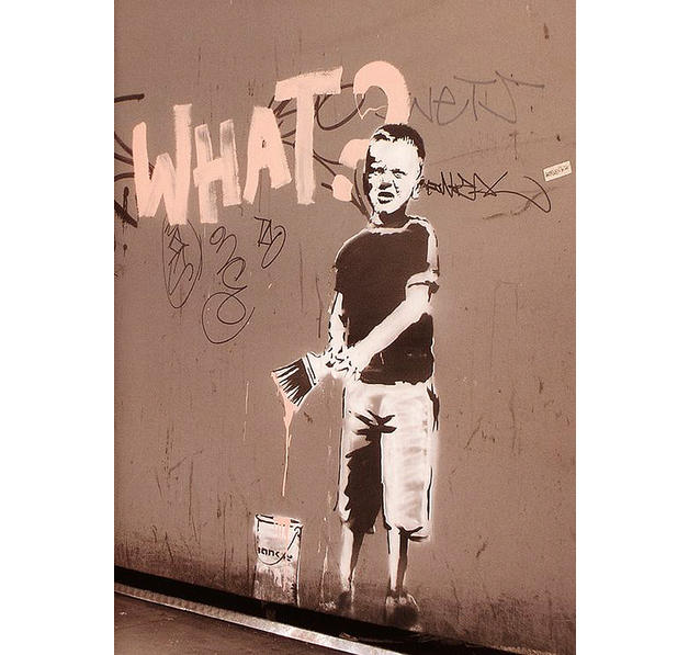 "Poster Banksy ""What?"" Graffity"