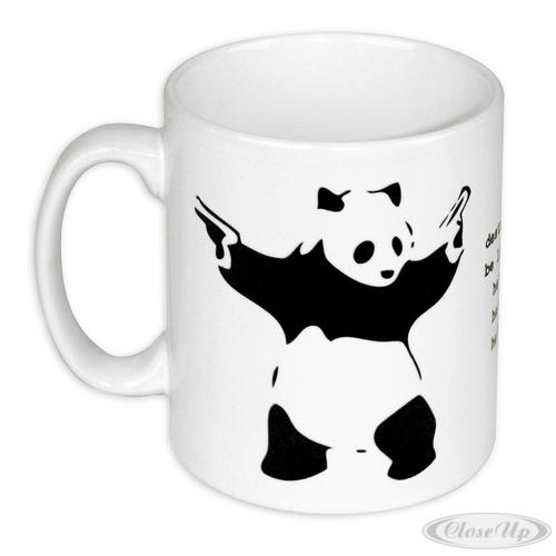 tasse destroy racism banksy panda tasses bols verres commandez d s maintenant close up. Black Bedroom Furniture Sets. Home Design Ideas