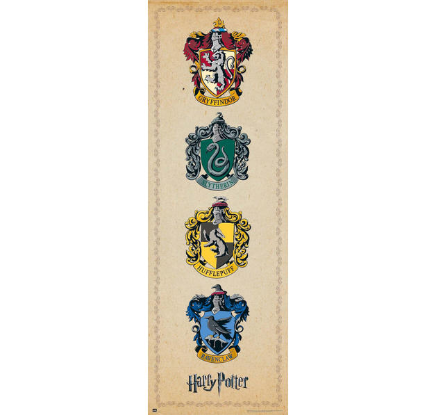 poster de porte harry potter blasons des 4 maisons sur close up. Black Bedroom Furniture Sets. Home Design Ideas