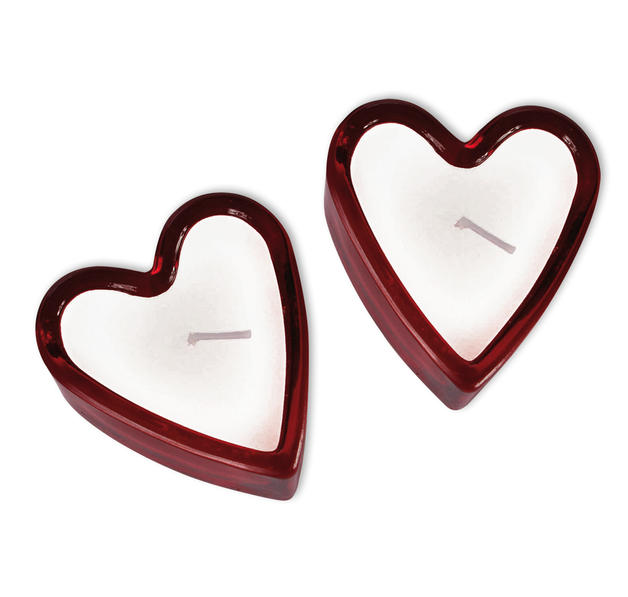Bougies coeur avec porte bougie en verre divers for Porte bougie en verre