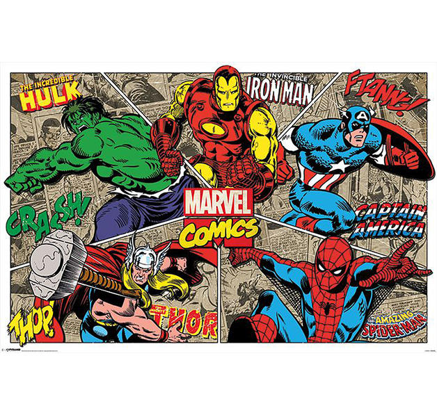 original marvel poster im retro look im fanshop g nstig bestellen. Black Bedroom Furniture Sets. Home Design Ideas