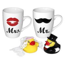 Set de 2 Tasse Mr. & Mrs. avec Set de 2 Canards de bain -