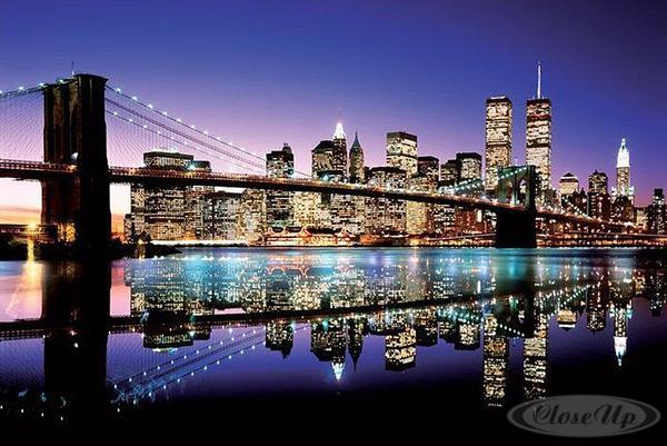 poster new york le pont de brooklyn posters grand format commandez d s maintenant close up. Black Bedroom Furniture Sets. Home Design Ideas