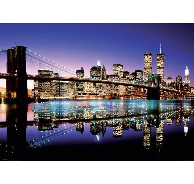 poster new york xxl brooklyn bridge by night posters xxl commandez d s maintenant close up. Black Bedroom Furniture Sets. Home Design Ideas