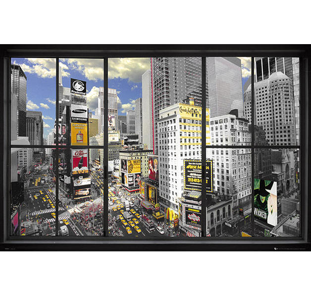 poster new york effet trompe l 39 oeil posters grand format commandez d s maintenant close up. Black Bedroom Furniture Sets. Home Design Ideas
