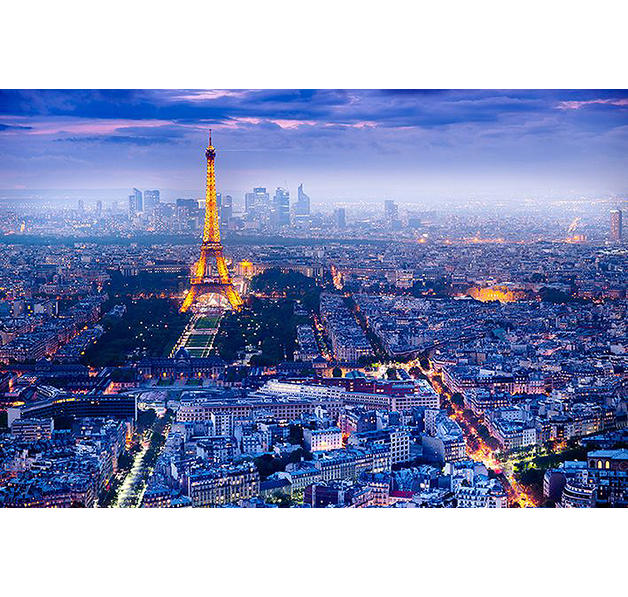 poster paris vue sur la ville avec la tour eiffel posters grand format commandez d s. Black Bedroom Furniture Sets. Home Design Ideas