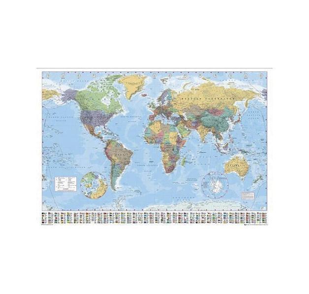carte du monde avec drapeaux poster posters grand. Black Bedroom Furniture Sets. Home Design Ideas