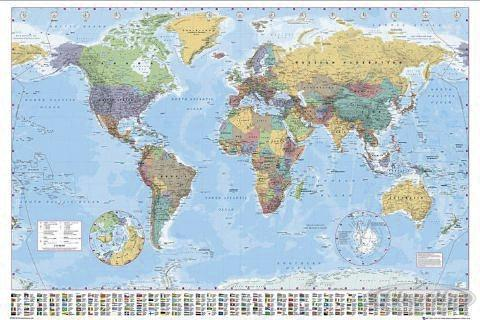 carte du monde avec drapeaux poster posters grand. Black Bedroom Furniture Sets. Home Design Ideas