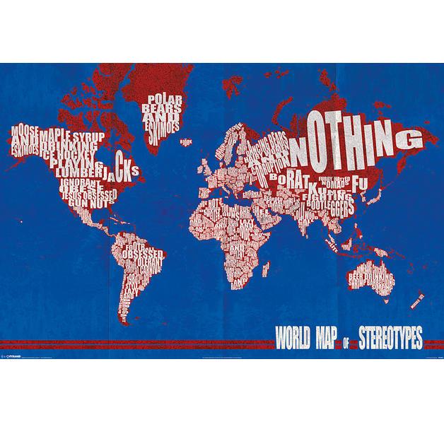 poster carte du monde des st reotypes world map of stereotypes posters grand format. Black Bedroom Furniture Sets. Home Design Ideas