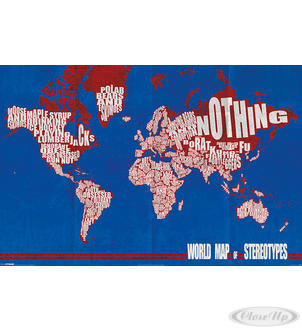 poster carte du monde des st reotypes world map of. Black Bedroom Furniture Sets. Home Design Ideas