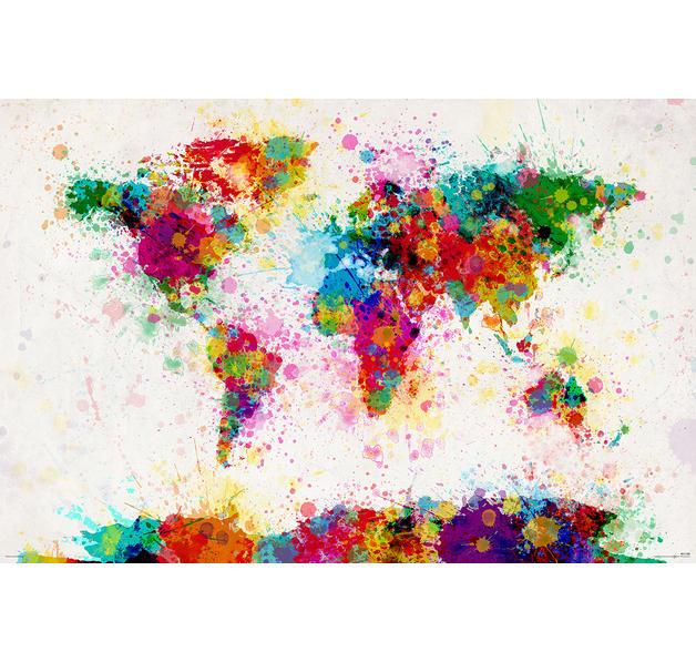 Poster de la carte du monde de michael tompsett - Poster carte du monde ikea ...