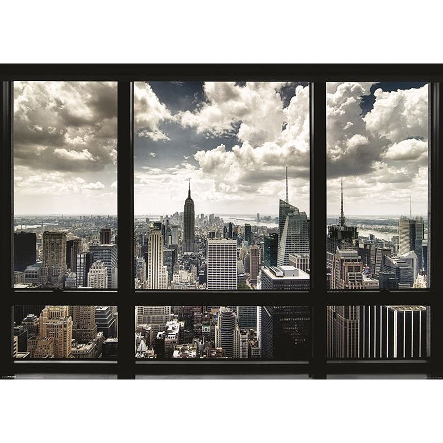 poster new york skyline vue d une fen tre posters xxl commandez d s maintenant close up. Black Bedroom Furniture Sets. Home Design Ideas