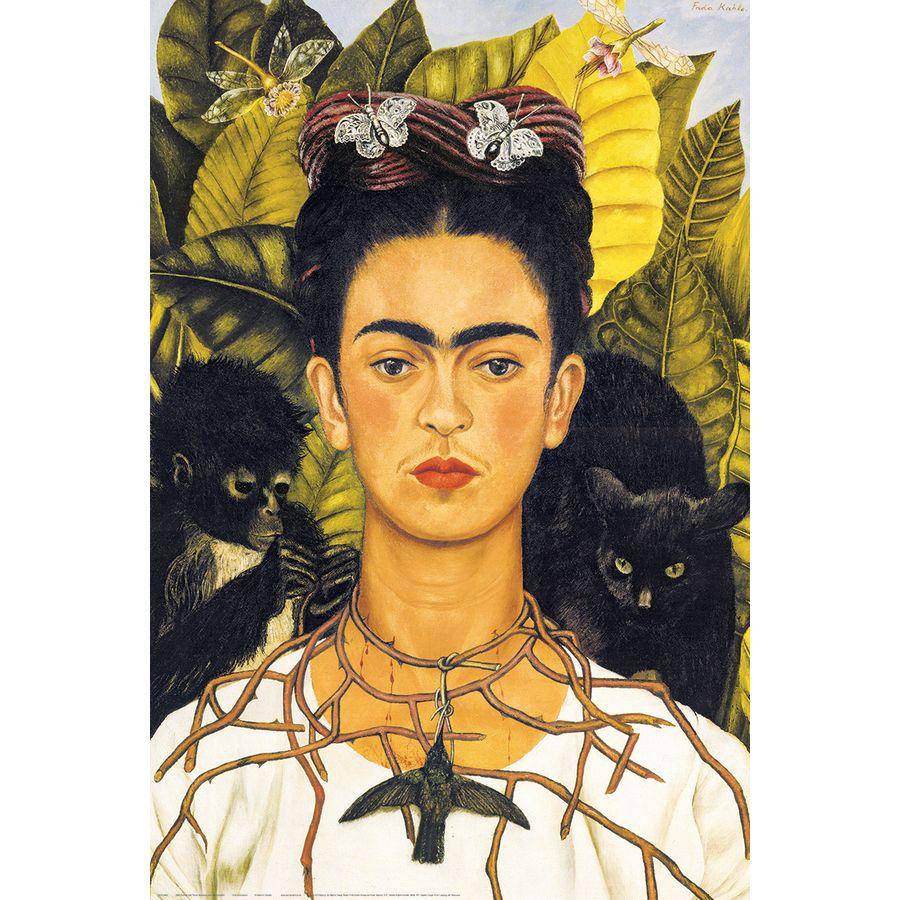 poster frida kahlo portrait avec collier d 39 pines et colibri. Black Bedroom Furniture Sets. Home Design Ideas