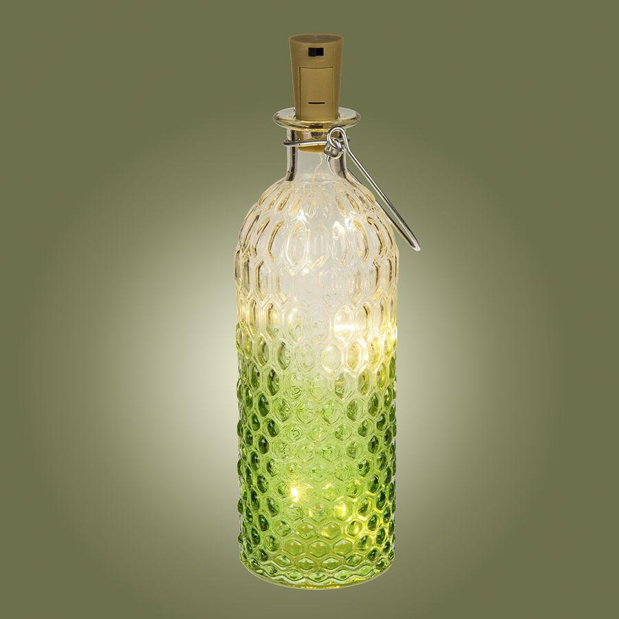 bouteille en verre led avec support m tallique bouchon sur close up. Black Bedroom Furniture Sets. Home Design Ideas