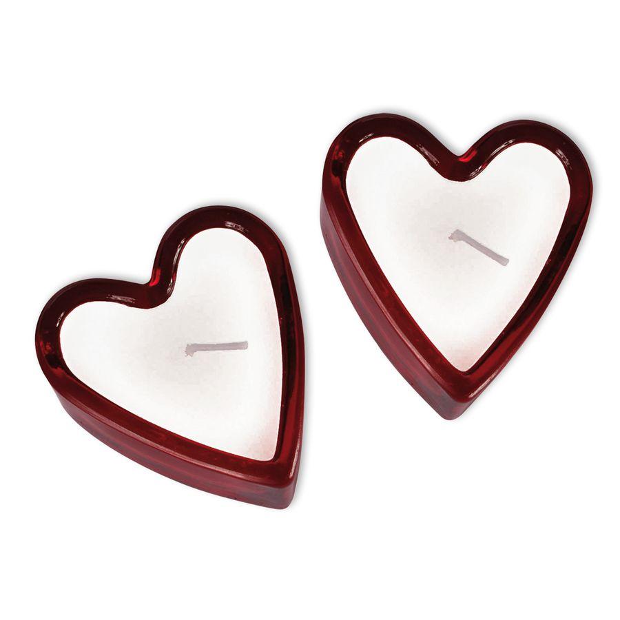 Bougies coeur avec porte bougie en verre divers - Porte bougie en verre ...
