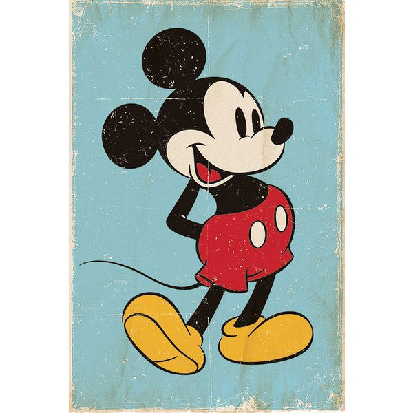 Poster Mickey Mouse Retro Blue