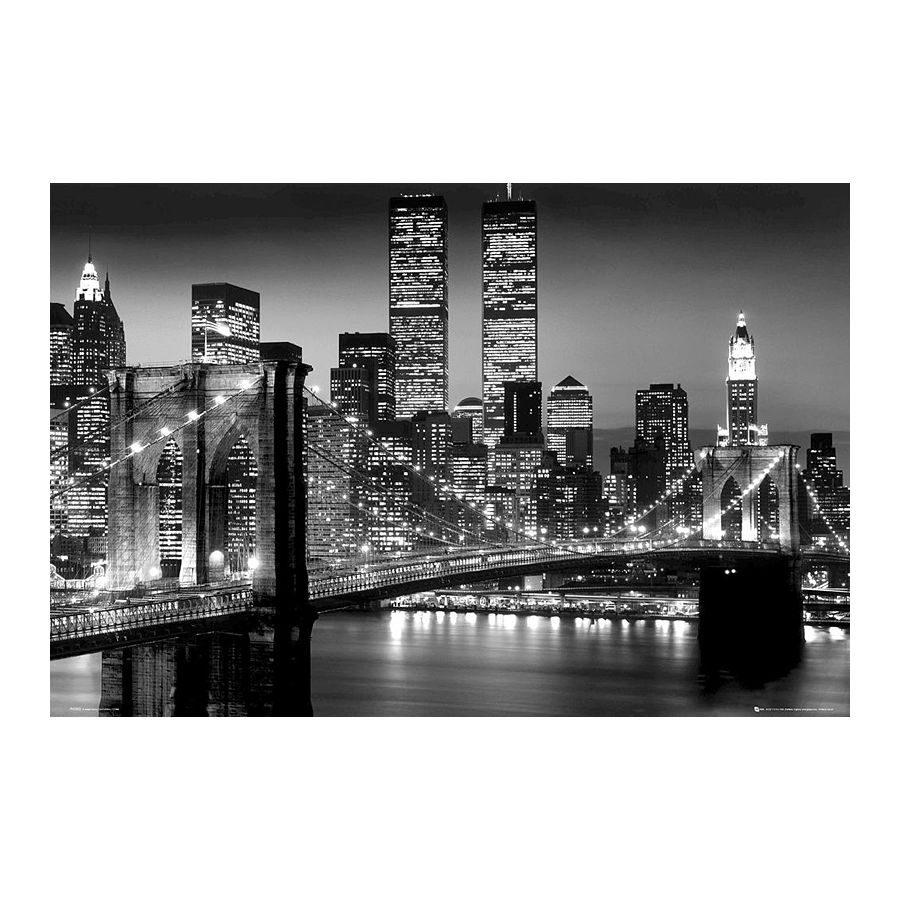 poster new york lights world trade center pont de. Black Bedroom Furniture Sets. Home Design Ideas