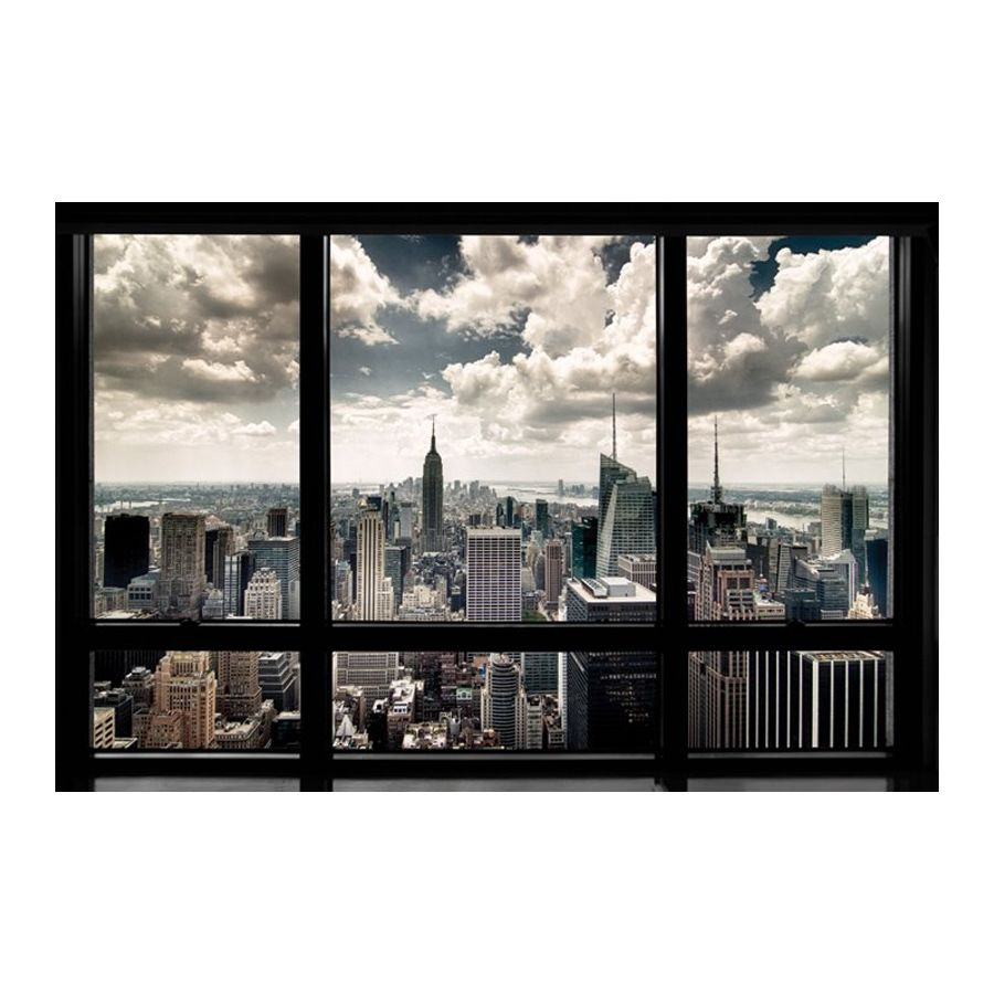 poster new york skyline fenetre posters grand format commandez d s maintenant close up. Black Bedroom Furniture Sets. Home Design Ideas