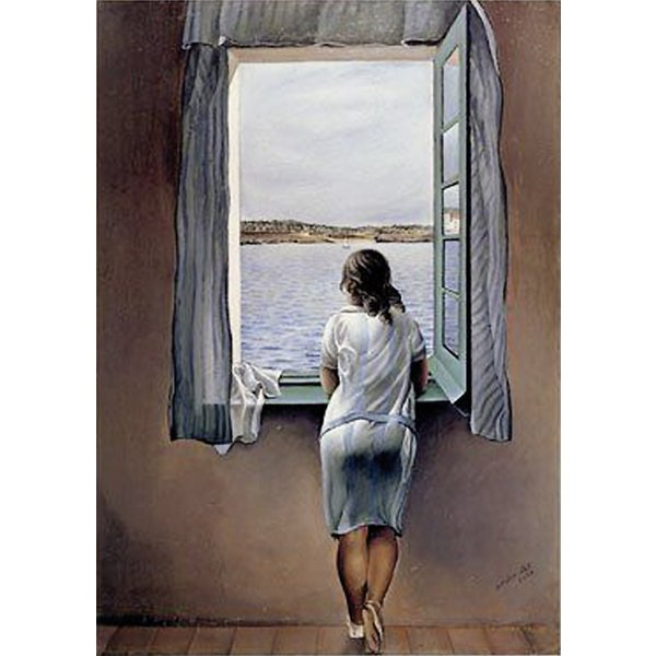 poster reproduction salvador dali femme la fen tre reproductions de tableaux commandez d s. Black Bedroom Furniture Sets. Home Design Ideas