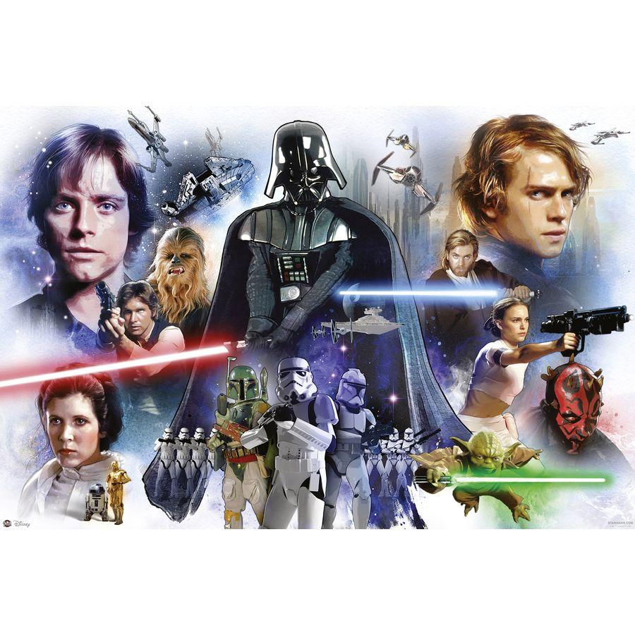 Poster star wars octalogie personnages de l 39 pisode 1 8 - Personnage star wars 6 ...