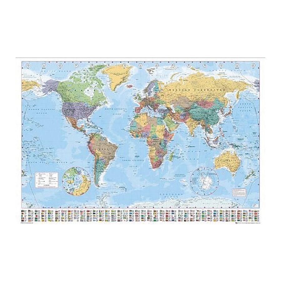 carte du monde poster avec drapeaux en anglais version 2008 posters xxl commandez d s. Black Bedroom Furniture Sets. Home Design Ideas