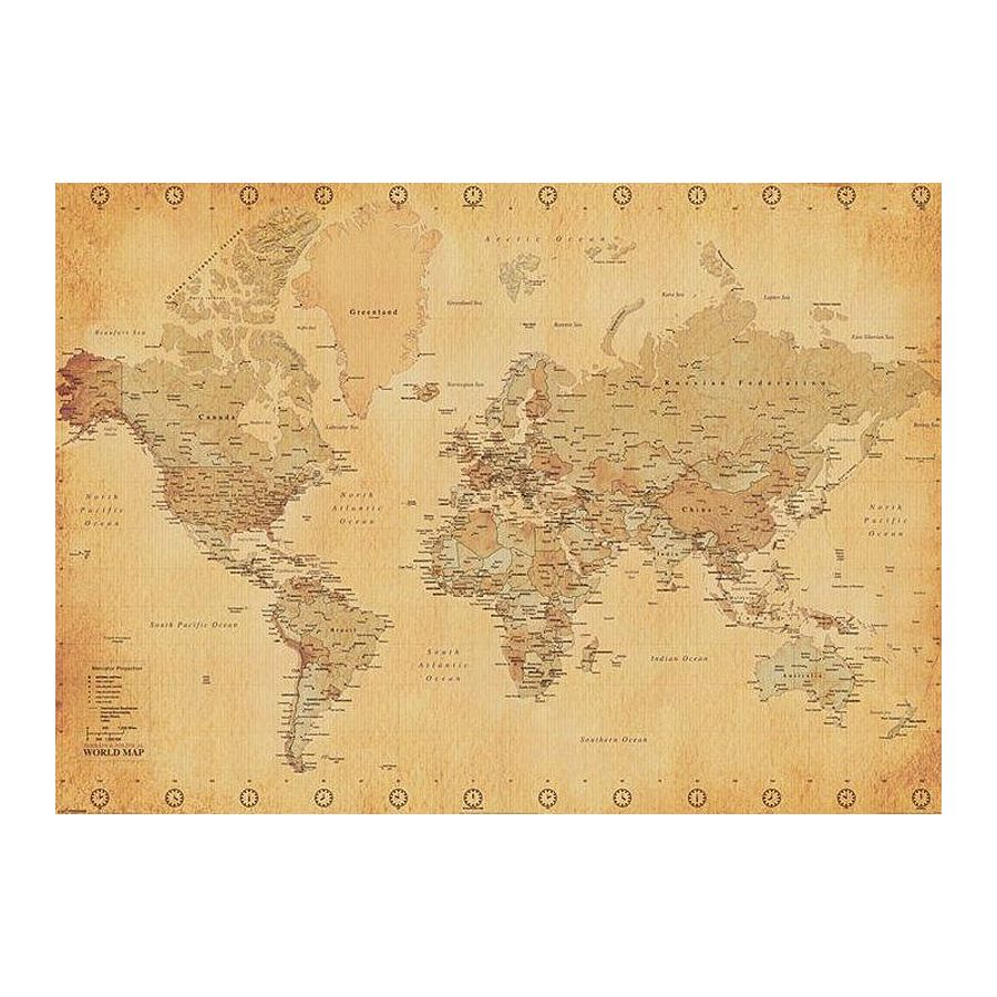 poster xxl mappemonde carte du monde mappemonde style vintage posters xxl commandez d s. Black Bedroom Furniture Sets. Home Design Ideas