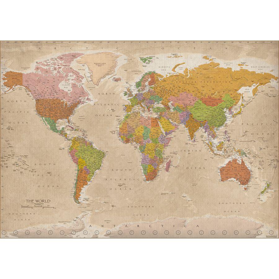 poster xxl carte du monde 2017 vintage maps in minutes. Black Bedroom Furniture Sets. Home Design Ideas