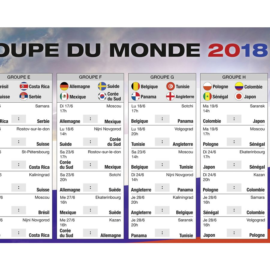 calendrier de la coupe du monde 2018 russie football sur close up. Black Bedroom Furniture Sets. Home Design Ideas