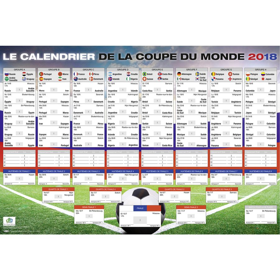 Calendrier de la coupe du monde 2018 russie football - Classement qualification coupe du monde ...